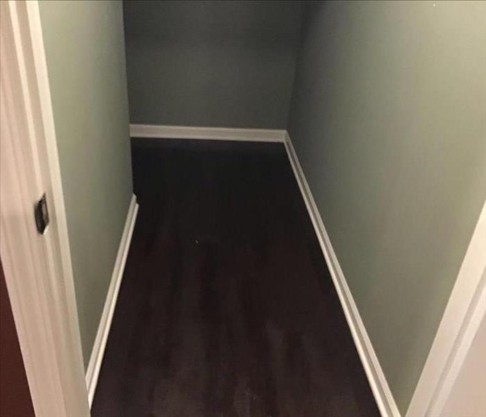 Wet dark brown wood floor in a closet with green walls and white trim.
