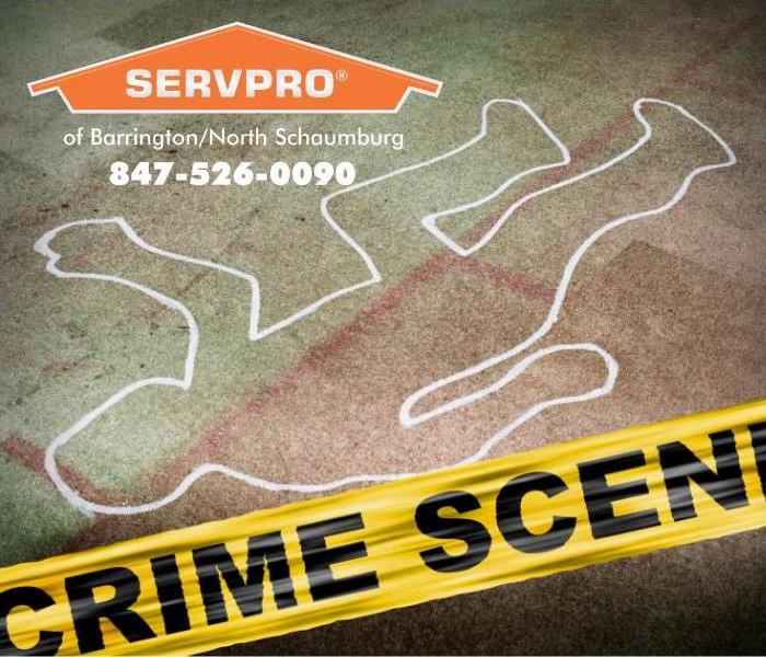 A yellow crime scene tape is shown marking off an area where a body chalk outline can be seen.